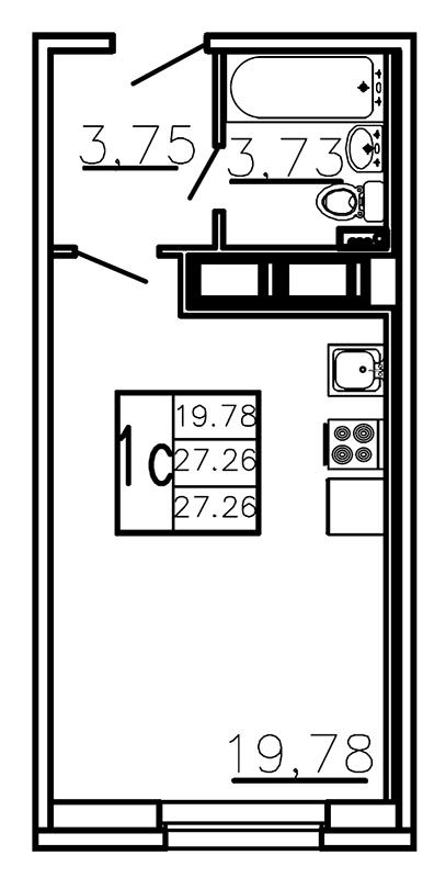 Планировка Студия площадью 27.26 кв.м в ЖК «Ленинградская перспектива»