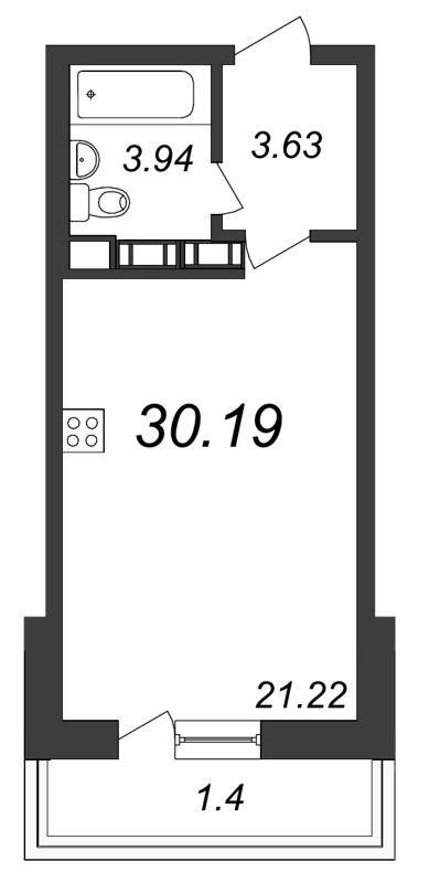 Планировка Студия площадью 30.19 кв.м в ЖК «Ленинградская перспектива»